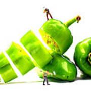 Chopping Green Peppers Little People Big Worlds Art Print