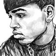 Chris Brown Art Drawing Sketch Portrait Art Print