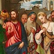 Christ And The Woman Taken In Adultery Art Print