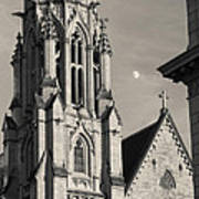 Christ Church Cathedral And Moon Art Print