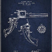 Christ Revolver Patent Drawing From 1866 - Navy Blue Art Print