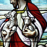 Christ The Good Shepherd With His Flock Art Print