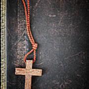 Christian Cross On Bible Art Print