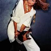 Christie Brinkley Wearing Geoffrey Beene Pajamas Art Print