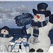 Christmas - Snowmen Collection - Family - Peace - Snow Art Print