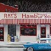 Christmas At Ray's Diner Art Print by Catherine Holman