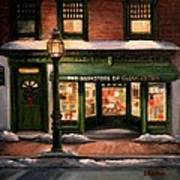 Christmas At The Bookstore Of Gloucester Art Print