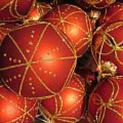 Christmas Balls In Red And Gold Art Print