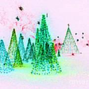 Christmas Blues And Greens Art Print