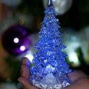 A Christmas Crystal Tree In Blue Art Print