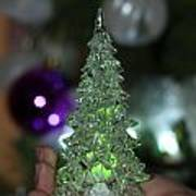 A Christmas Crystal Tree In Green  Art Print