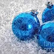 Christmas Card With Vintage Blue Ornaments Art Print