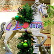 Christmas Carousel Horse With Pine Branch Art Print