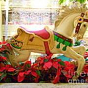 Christmas Carousel Horse With Poinsettias Art Print