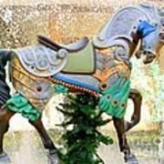 Christmas Carousel Warrior Horse-1 Art Print