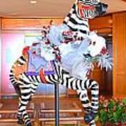 Christmas Carousel Zebra Art Print