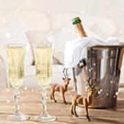 Christmas Champagne Art Print