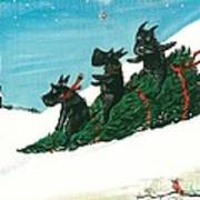Christmas Day Scottie Style Art Print