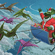 Christmas Dinosaur Santa Ride Art Print by Martin Davey