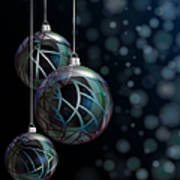 Christmas Elegant Glass Baubles Print by Jane Rix