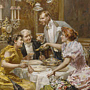Christmas Eve Dinner In The Private Dining Room Of A Great Restaurant Art Print by Ludovico Marchetti