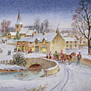 Christmas Eve In The Village  Art Print by Stanley Cooke