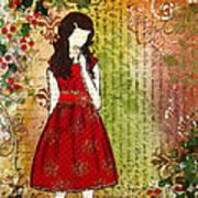 Christmas Eve Mixed Media Folk Artwork Of Young Girl Art Print