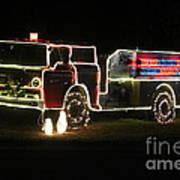 Christmas Fire Truck 2 Art Print