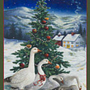 Christmas Geese Art Print