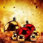 Christmas Glass Balls On Winter Gold Background Art Print