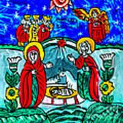 Christmas Icon Religious Naive Folk Art Nativity Art Print