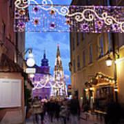 Christmas Illumination On Piwna Street In Warsaw Art Print