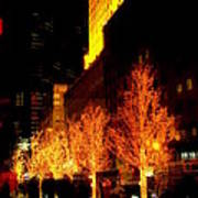 Christmas In New York - Trees And Star Art Print