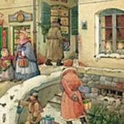 Christmas In The Town Art Print by Kestutis Kasparavicius