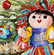 Christmas Muneca Art Print