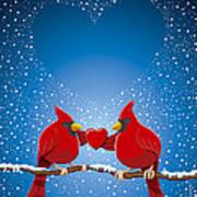 Christmas Red Cardinal Twig Snowing Heart Art Print
