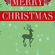 Christmas Reindeer Greeting Card Art Print