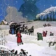 Christmas Scene Art Print by English School