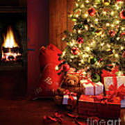 Christmas Scene With Tree And Fire In Background Art Print