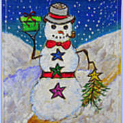 Christmas Snowman With Gifts Of Love Art Print