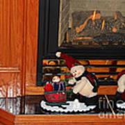 Christmas - Snowmen Collection- Fireplace Art Print