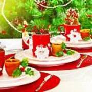 Christmas Table Setting Art Print