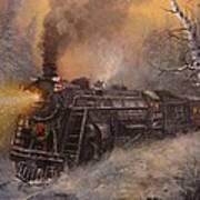 Christmas Train In Wisconsin Art Print