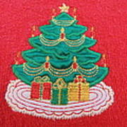 Christmas Tree Embroidered Art Print