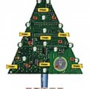 Christmas Tree Motherboard Art Print by Mary Helmreich