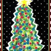 Christmas Tree Polkadots Art Print