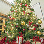 Christmas Tree  With Presents Tall Perspective Art Print