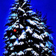 Christmas Tree With Red Ball Art Print