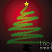 Christmas Tree With Star Art Print