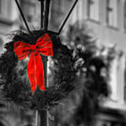 Christmas Wreath In Charleston Art Print